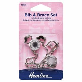 HEMLINE BIB AND BRACE SET FOR DUNGAREES/APRONS  AND CLOTHING - 40mm